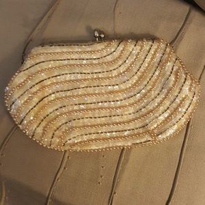 Vintage Jill Empress Bead Pearl Sequin Clutch Purs